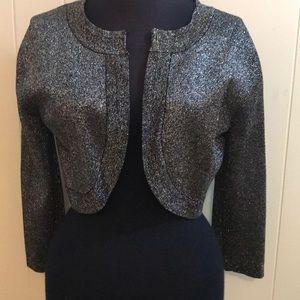 Metallic Cropped Cardigan Sweater